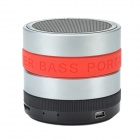 Portable Ultra-Silent Bluetooth V2.1 + EDR Hi-Fi Speaker w/ FM / Handsfree - Black + Red + Silver