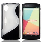 """S"" Style Protective TPU + PC Back Case w/ Stand for LG Nexus 5 - Black + Transparent"