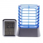"2.5"" LCD Alarm Clock + Calendar + Thermometer with Leather Pen Holder - Blue + Silver (2 x LR1130)"