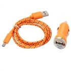 Car Cigarette Lighter Power Adapter + Micro USB Charging Data Cable Samsung / HTC - Orange