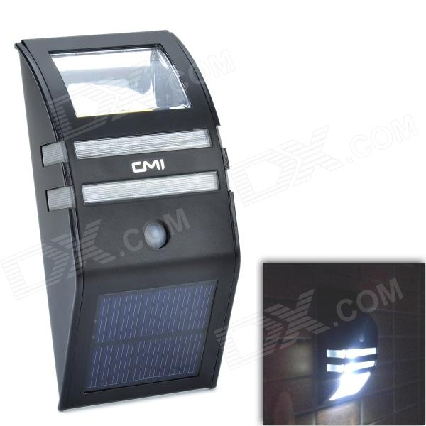 CMI LEH-44014BW 2-LED White Light Solar Sensor PIR Motion Light / Wall Light / Mounted Light - Black cmi 5w 40lm 3500k 3 led light control pir control warm white solar wall lamp silvery white 12v