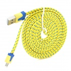 USB to Micro USB Data/Charging Nylon Cable for Samsung / HTC / LG / Xiaomi - Yellow + Blue (200CM)