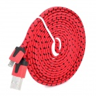USB to Micro USB Data/Charging Nylon Cable for Samsung / HTC / LG / Xiaomi - Red + Black (200CM)