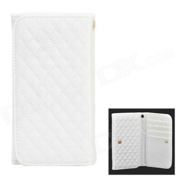 Stylish Wallet Style Protective PU Leather Case for Samsung Note 3 / N7100 / i9082 - White lorways 016 stylish check pattern long style pu leather men s wallet blue coffee