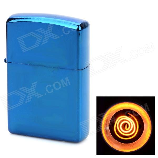 Rectangle Shaped Windproof USB Rechargeable Lighter - Deep Blue