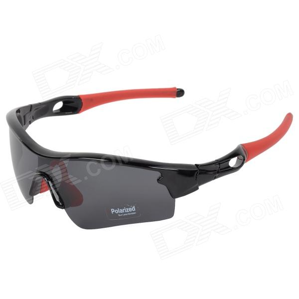 CARSHIRO 9183 Outdoor Cycling UV400 Protection Sunglasses w/ Replacement Lenses - Black + Red clip on uv400 protection resin lens attachment sunglasses small