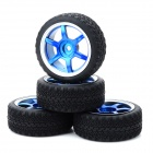 1:10 On-road Racing Car Model Replacement Tire - Black + Blue + Silver (4 PCS)
