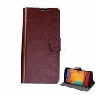 Mikasso Protective PU Leather Case Cover Stand w/ Card Slots for Samsung Galaxy Note 3 N9000 - Brown