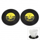 Vinyl Record Style Silicone Cup Mat - Black + Yellow (2 PCS)