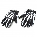 QEPAE F7507 Hand Skeleton Pattern Cycling Full-finger Super Fiber Gloves - Black + White (L / Pair)