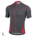 Santic MC02031 Cycling Riding Short Sleeves Jersey for Men - Grey + Red (L)