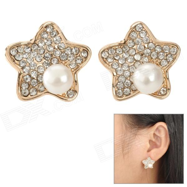 SHIYING D04349 Retro Star Style Zinc Alloy Rhinestone Ear Studs - Golden + White
