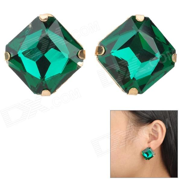 SHIYING D02130 Acrylic Gemstone Zinc Alloy Earrings - Green