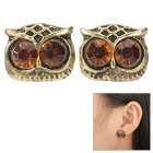 SHIYING D05313 Owl Style Zinc Alloy Ear Buds - Golden + Champagne