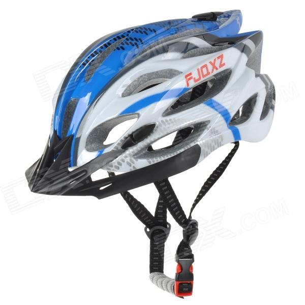 FJQXZ Cycling Bike Seamless PC + EPS Helmet - White + Blue