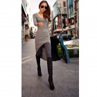 Fashion Slim Wool Flock Dress w/ Long Sleeves - Grey