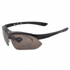 QQsport Y100 Outdoor Cycling Polarized Sunglasses Goggles w/ Replacement Lenses - Black
