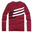 V-collar Men's Cotton + Dacron Long Sleeves T-shirt - Red + White + Black (Size XL)