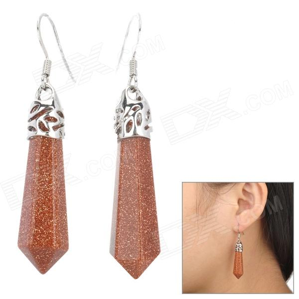 Nugget Sand Stone Earrings - Coffee + SilverEarrings<br>Brand N/A Quantity 2 Piece Color Coffee + silver Material Nugget sand Gender Women Suitable for Adults Length 5.2 cm Width 0.9 cm Features Fashion and elegant Packing List 2 x Earrings<br>