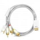 HDMI to AV Video / Audio Converter Adapter Cable w/ USB Power Supply - White + Golden (1.5m)
