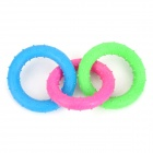A046 Three-Ring Pet's Dog Cat Molar Toy - Green + Deep Pink + Blue