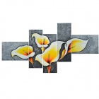 SYVIO 5-1 Lily Flower Pattern Handmade Oil Painting with Wood Frame - Multicolored