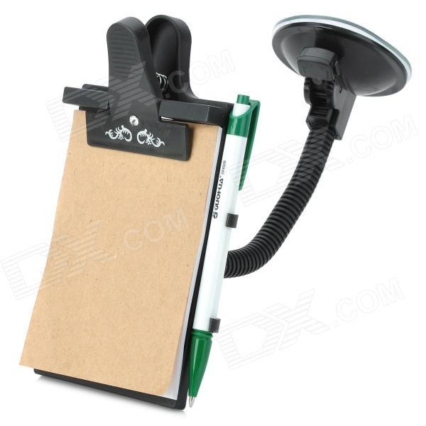 Car Hand-writing Notebook w/ Ball Point Pen + Holder - Black
