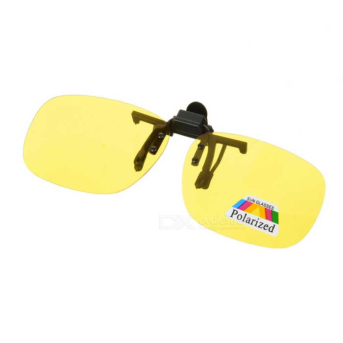 Anti-Glare Night Resin Lens Driving Eyeglasses w/ Clip - Yellow