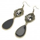Bohemian Style Water Drop Pendant Women's Earrings - Black (Pair)