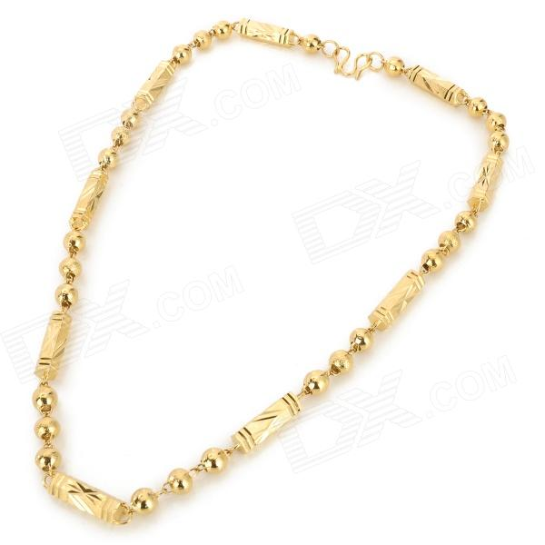 24K Gold-Plated Stylish Men's Necklace - Golden gorgeous 60cm length golden thick braided wheat chain necklace for men