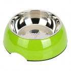 Super 11015 Pet's Dog Cat Stainless Steel + ABS Round Bowl - Green Yellow + Silver