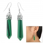 Elegant Women's Malachite Earrings - Green + Silver (Pair)