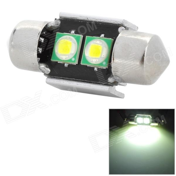 LX WLT-T10C-2*1W5050SMD Festoon 31mm 180lm 2-SMD 5050 LED White Light Car Lamp - Silver (12~13.6V) lx 3w 250lm 6500k white light 5050 smd led car reading lamp w lens electrodeless input 12 13 6v
