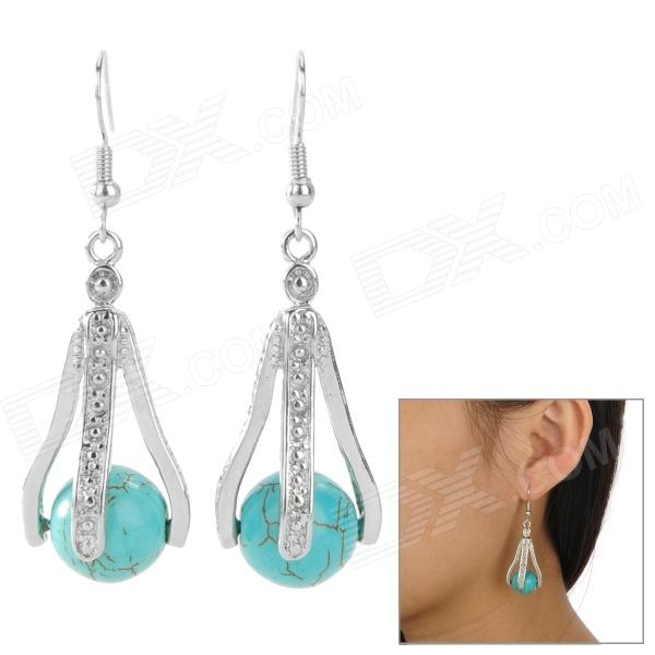 Triple-Claw Turquoise Ball Style Women's Earrings - Blue + Silver (Pair)