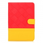 Stylish Grid Pattern Joint Color PU Leather Case w/ Holder + Auto Sleep for iPad Mini - Red + Yellow