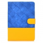 Grid Pattern Joint Color PU Leather Case w/ Holder + Auto Sleep for Ipad MINI - Blue + Yellow