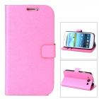Protective PU Leather Case w/ Stand for Samsung Galaxy S3 / i9300 - Deep Pink