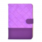 Stylish Grid Pattern Joint Color PU Leather Case w/ Holder + Auto Sleep for Ipad MINI - Purple