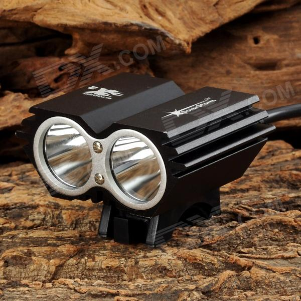 Y-002 1200lm 4-Mode White Bicycle Light w/ 2 x Cree XM-L2 T6 - Black + Silver (4 x 18650) 600lm 3 mode white bicycle headlamp w cree xm l t6 black silver 4 x 18650