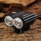 Y-002 1200lm 4-Mode White Bicycle Light w/ 2 x Cree XM-L2 T6 - Black + Silver (4 x 18650)