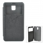 Classic Flip-open PU Leather Case w/ CID Window for Samsung Galaxy Note 3 - Black