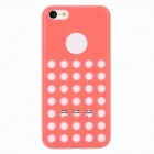 Hollow-Out Round Hole Style Protective Plastic + TPU Back Case for iPhone 5c - Light Coral + White
