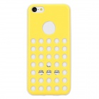 Hollow-Out Round Hole Style Protective Plastic + TPU Back Case for iPhone 5c - Light Yellow + White