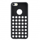 Hollow-Out Round Hole Style Protective Plastic + TPU Back Case for Iphone 5C - Blcak + White