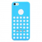 Hollow-Out Round Hole Style Protective Plastic + TPU Back Case for Iphone 5C - Light Blue + White