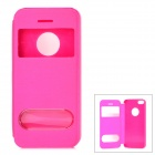 Stylish Protective Flip-open PU + PC Case w/ Dual Windows for Iphone 5S - Deep Pink