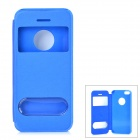 Stylish Protective Flip-open PU + PC Case w/ CID Window for Iphone 5S - Blue