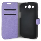 Silk Texture PU Leather Case for Samsung Galaxy S3 i9300 - Purple