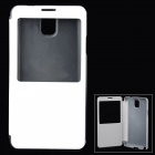 Stylish PU + PC Flip-Open Smart Case for Samsung Galaxy Note 3 / N9000 - White + Translucent