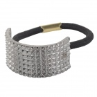 Semi-circle Style Zinc Alloy Elastic Band Hair Tie - Silver Gray + Black